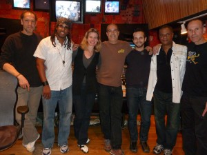 "Session photo of Kevyn and other musician in the recording studio during the recording of the new project ""Drawn to You"""